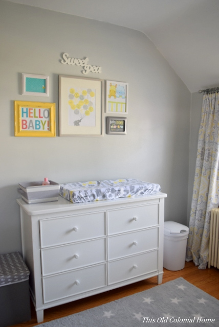 Nursery dresser and gallery wall