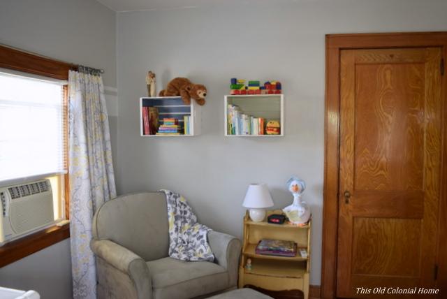 Gray nursery reading nook