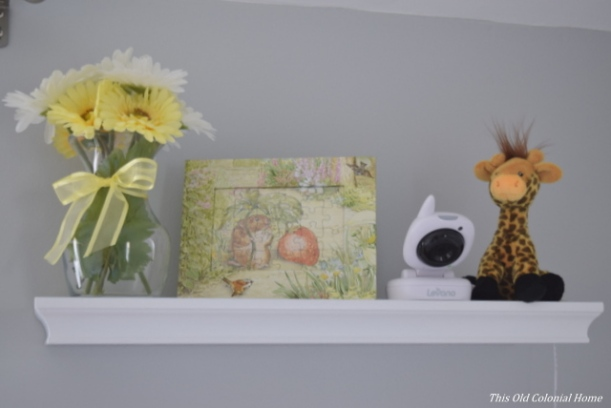 Nursery shelf vignette