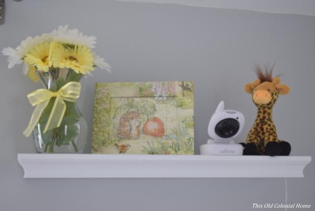 Nursery shelf vignette