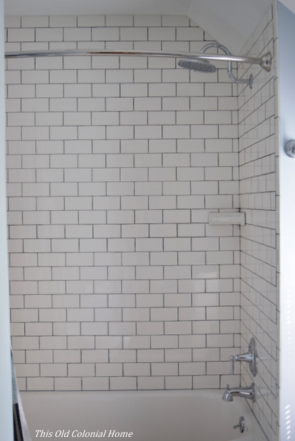 Subway tile in the shower