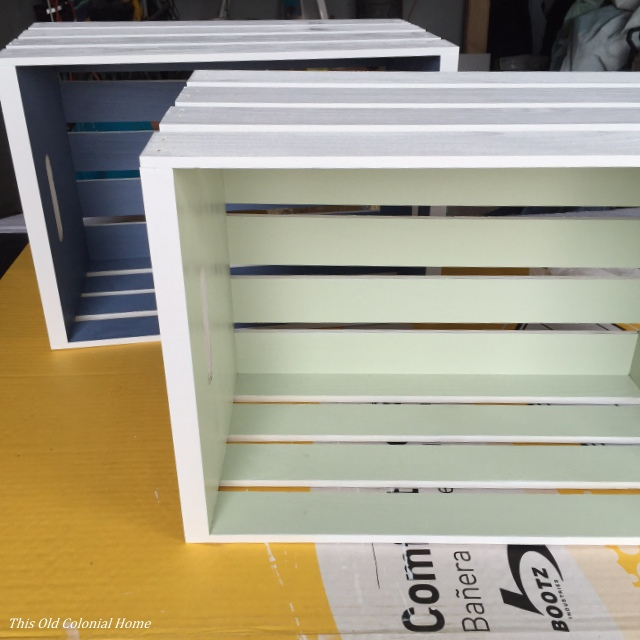 White painted wooden crate DIY