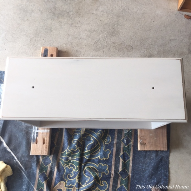 Dresser drawer with distressed chalk paint