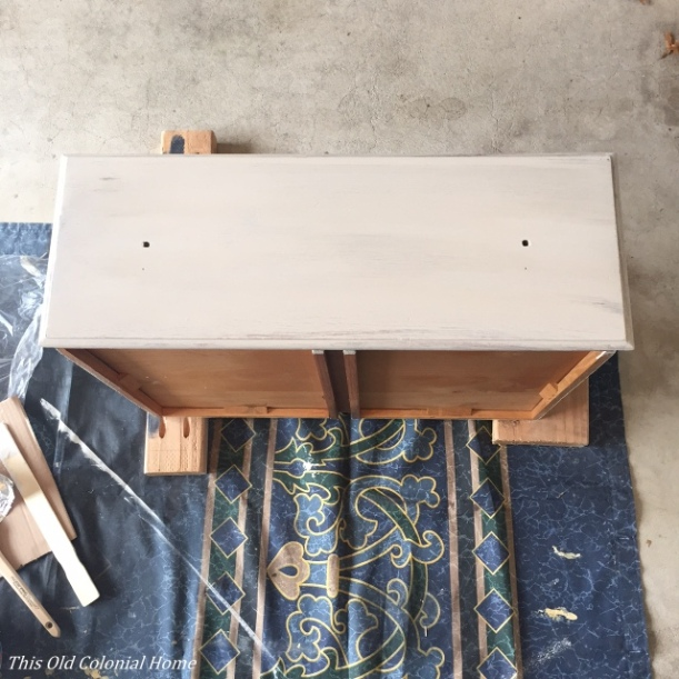 Dresser drawer with one coat of paint