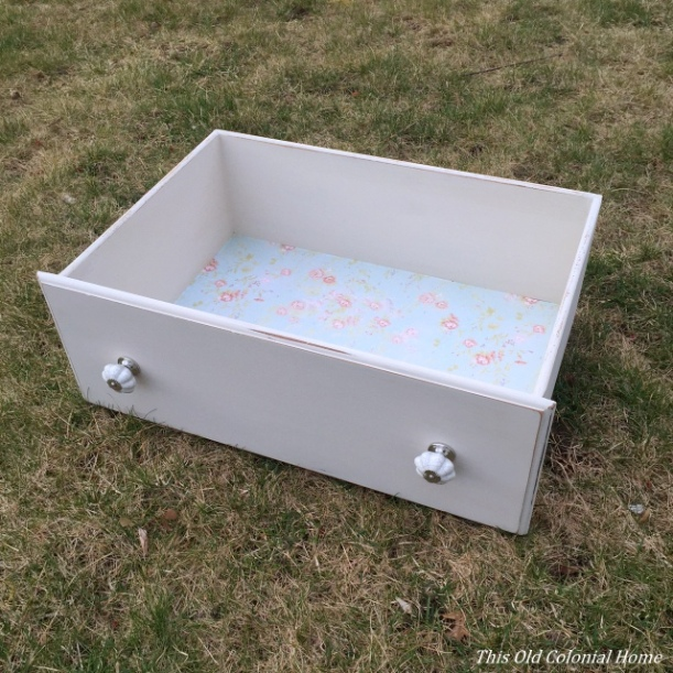 Shabby chic drawer with lined bottom