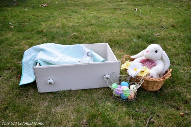 Shabby chic drawer used as prop for photo shoot